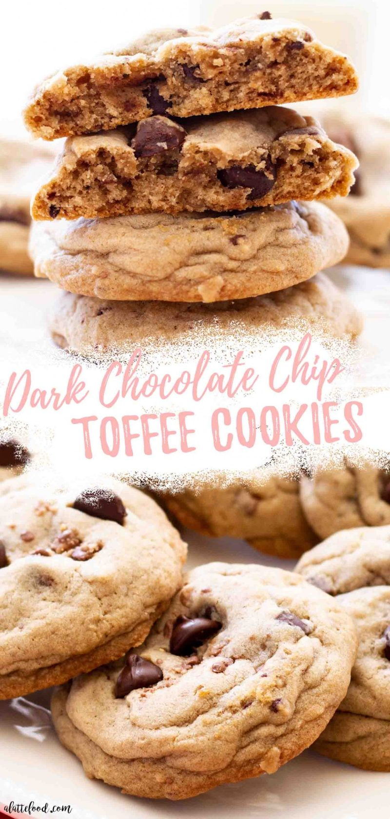 gooey dark chocolate chip toffee cookies on white plate collage with text