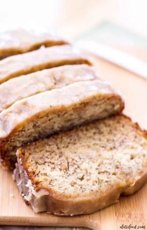 loaf of banana bread glazed and sliced