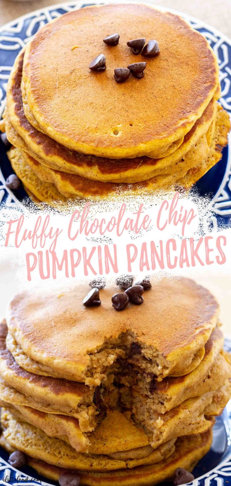 fluffy pumpkin pancakes with chocolate chips collage