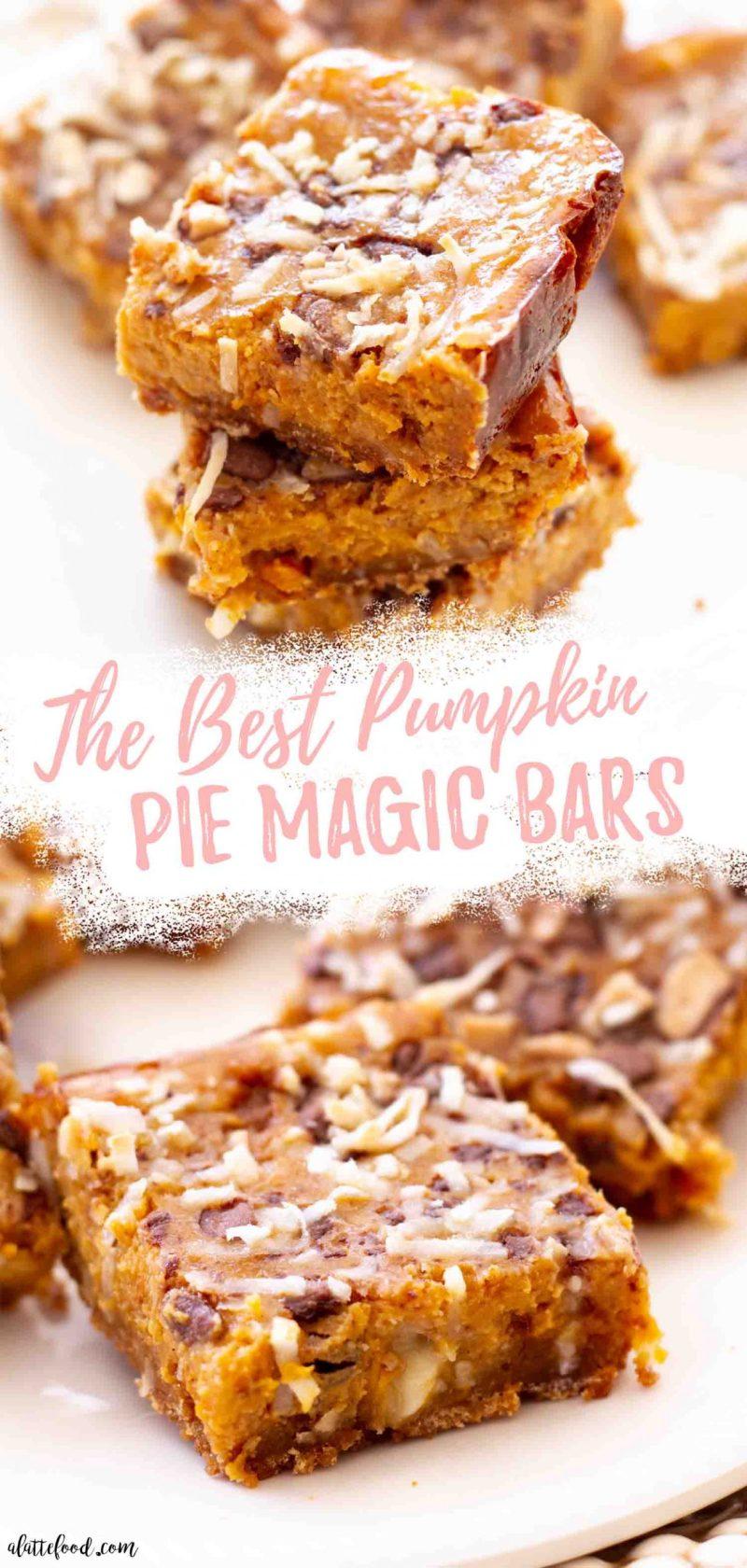 Pumpkin Pie Seven Layer Bars on serving dish collage