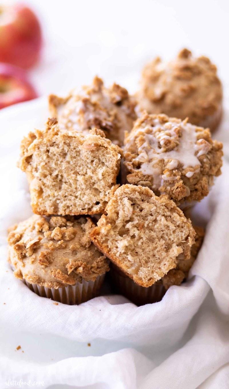 fluffy apple muffin cut in half
