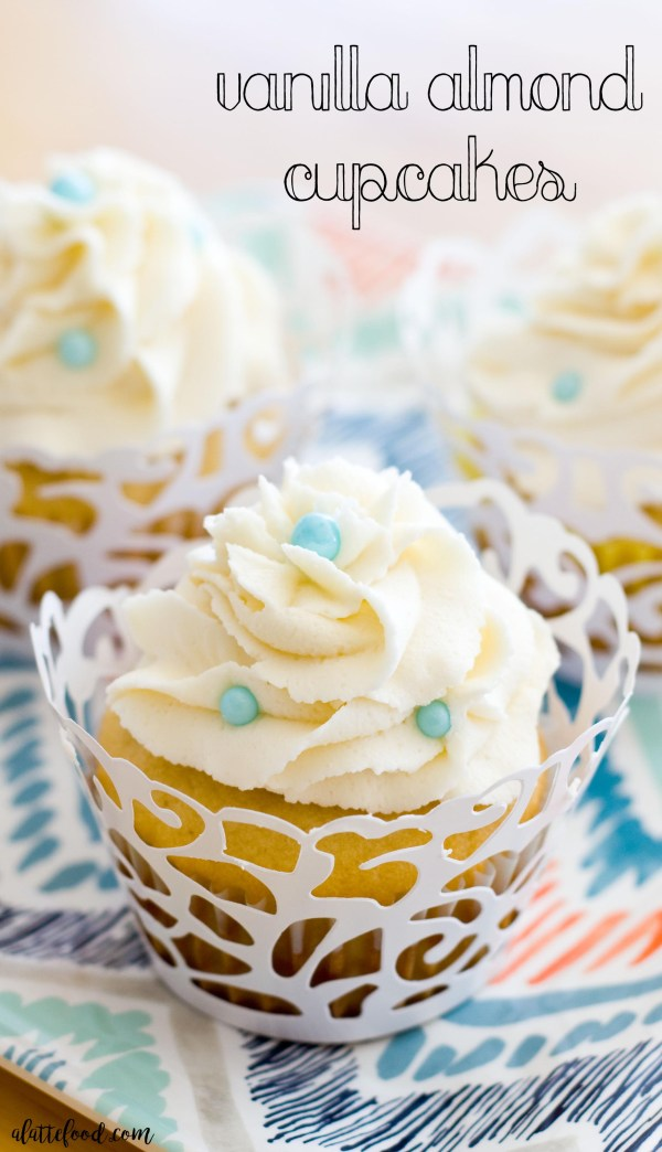 Vanilla Almond Cupcakes: These classic vanilla almond cupcakes are rich, decadent, and so delicious. Soft and dense and topped with the fluffiest frosting, these cupcakes are what dreams are made of.