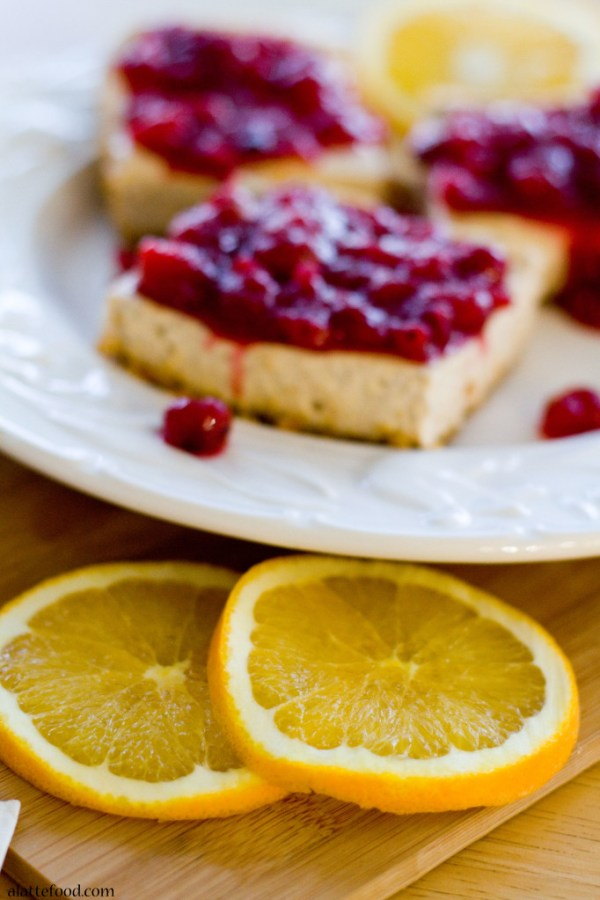 Cranberry Cinnamon Spiced Cheesecake Bars | A Latte Food