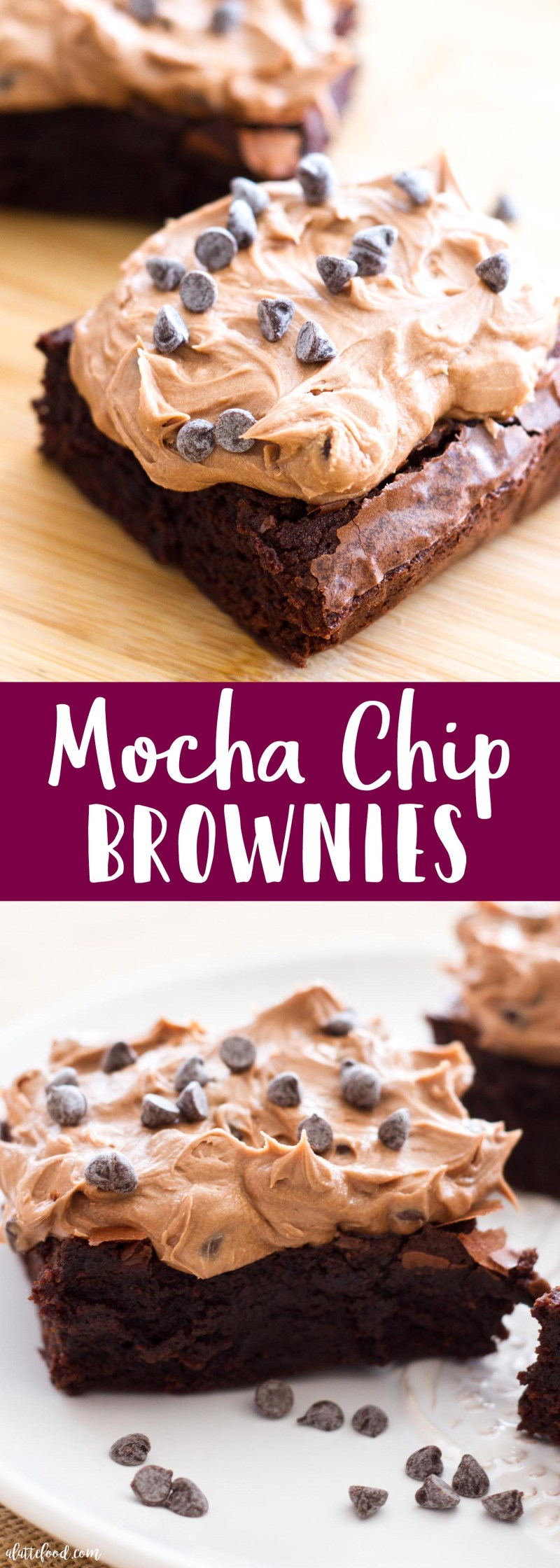 These fudgy brownies are made with coffee, espresso powder, cinnamon, and topped off with a mocha chip frosting. Can you say a-latte yum?! These rich chocolate brownies are the best dessert or midnight snack!
