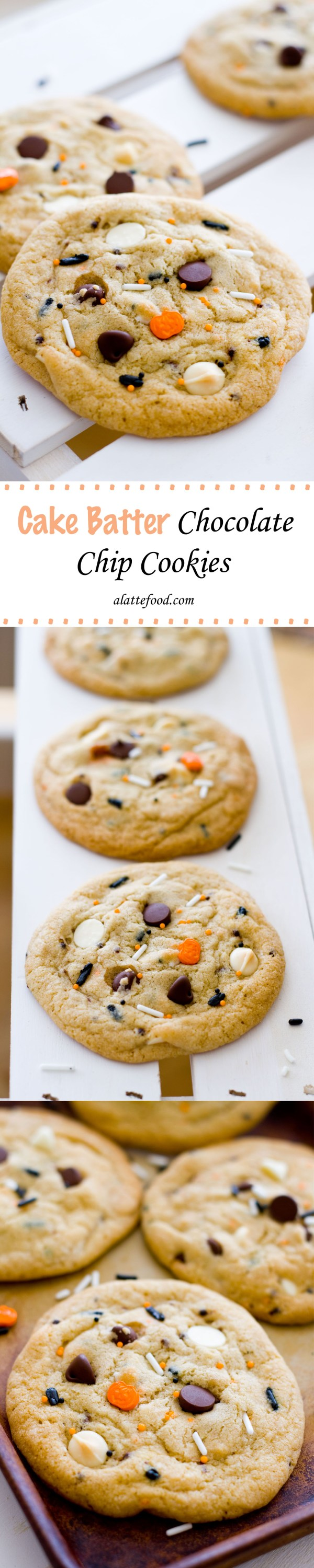 Cake Batter Chocolate Chip Cookies | A Latte Food