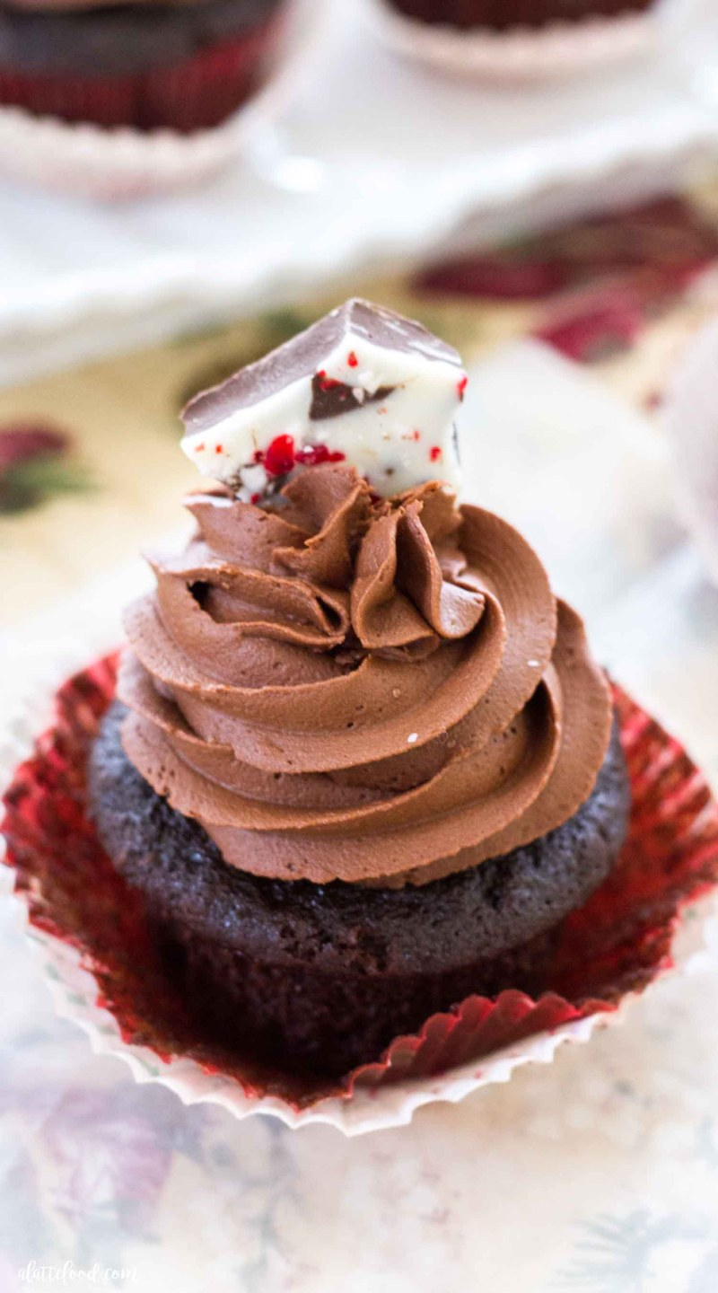 Peppermint Mocha Cupcakes -- These richhomemade chocolate cupcakes are filled with all of the flavors of a peppermint mocha latte! These peppermint mocha cupcakes are topped with a peppermint chocolate buttercream, giving these chocolate cupcakes twice the peppermint, chocolate, and mocha flavors!