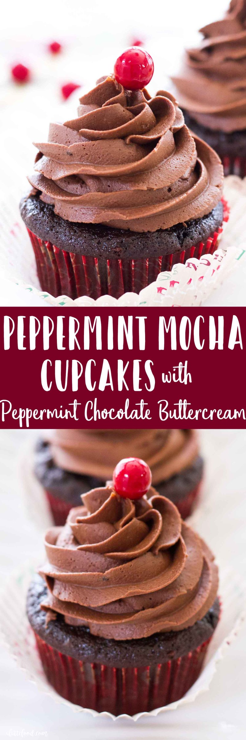 Peppermint Mocha Cupcakes -- These rich homemade chocolate cupcakes are filled with all of the flavors of a peppermint mocha latte! These peppermint mocha cupcakes are topped with a peppermint chocolate buttercream, giving these chocolate cupcakes twice the peppermint, chocolate, and mocha flavors!