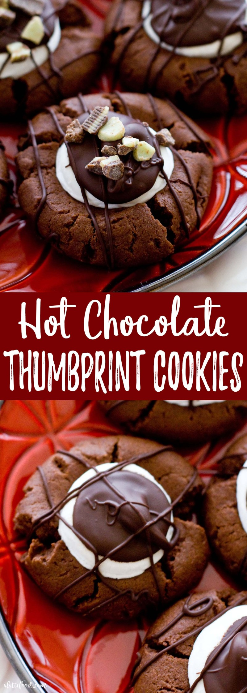 These Hot Chocolate Thumbprint Cookies taste like homemade hot chocolate in the form of a chewy chocolate cookie! They're intensely chocolatey, have a gooey marshmallow center, and covered in drizzled chocolate. Perfect.