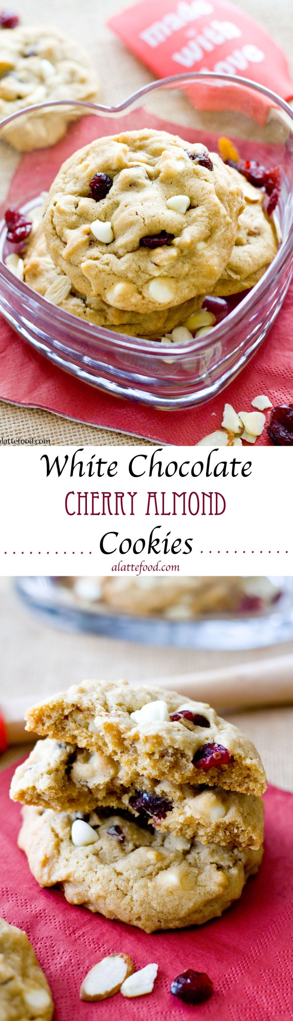 These soft cookies are thick, chewy, and packed with white chocolate chips, cherries, and amazing almond flavor!
