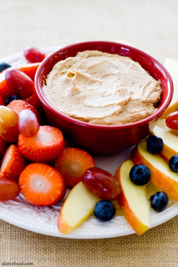 {Healthy and Gluten-Free} Chocolate Peanut Butter Fruit Dip | A Latte Food