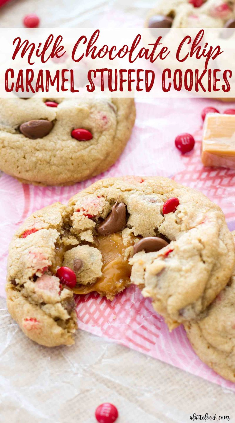 Caramel stuffed milk chocolate chip cookies are rich and gooey!