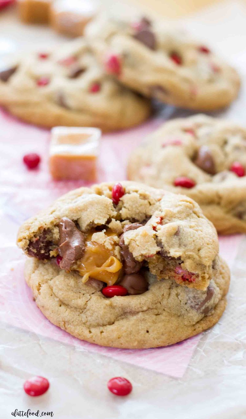 Gooey milk chocolate chip caramel stuffed cookies.