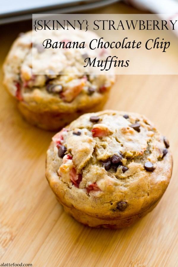 {Skinny} Strawberry Banana Chocolate Chip Muffins | A Latte Food