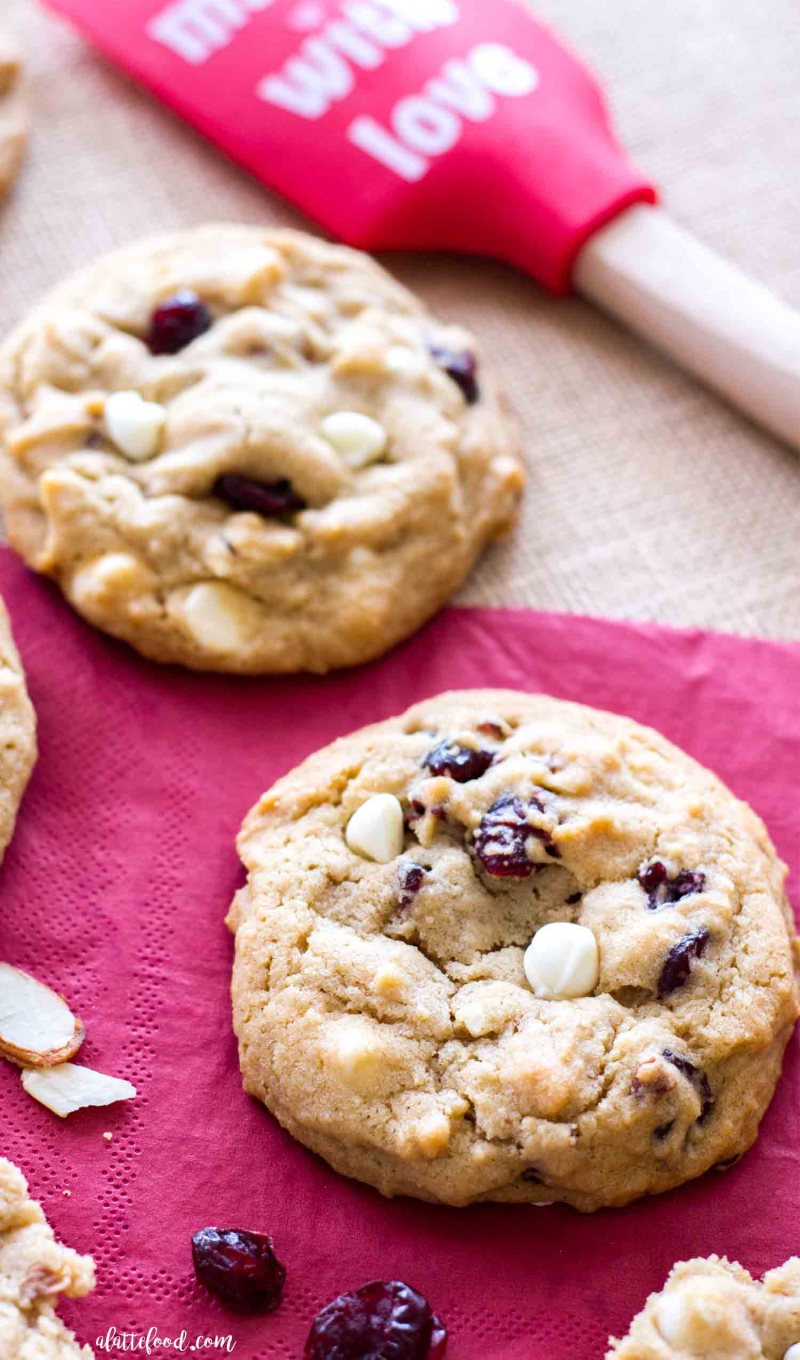 Cherry almond white chocolate chip cookies make an easy Valentine's Day dessert.