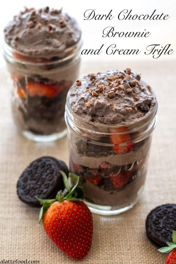 Dark Chocolate Brownie and Cream Trifle | A Latte Food
