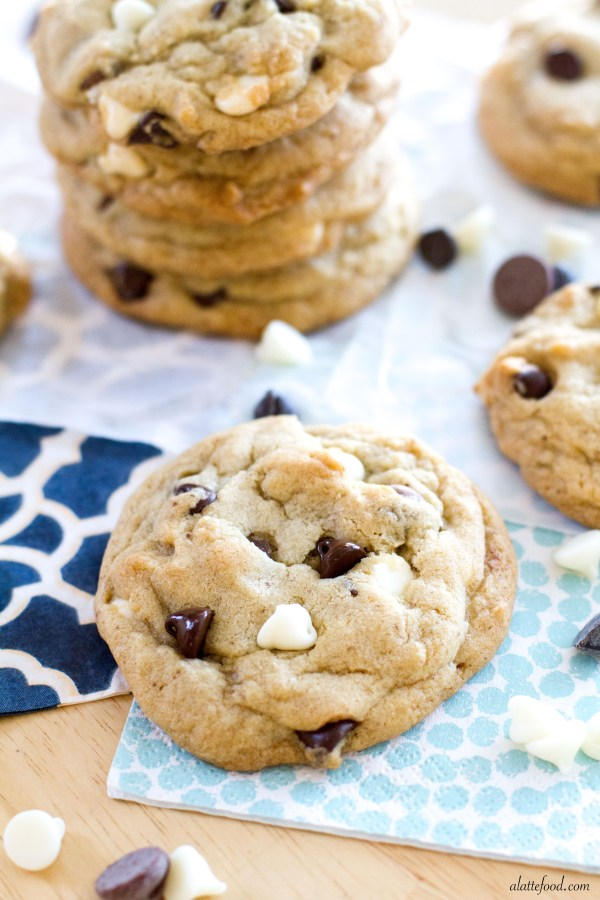 {Thick and Chewy} Triple Chocolate Chip Cookies   A Latte Food