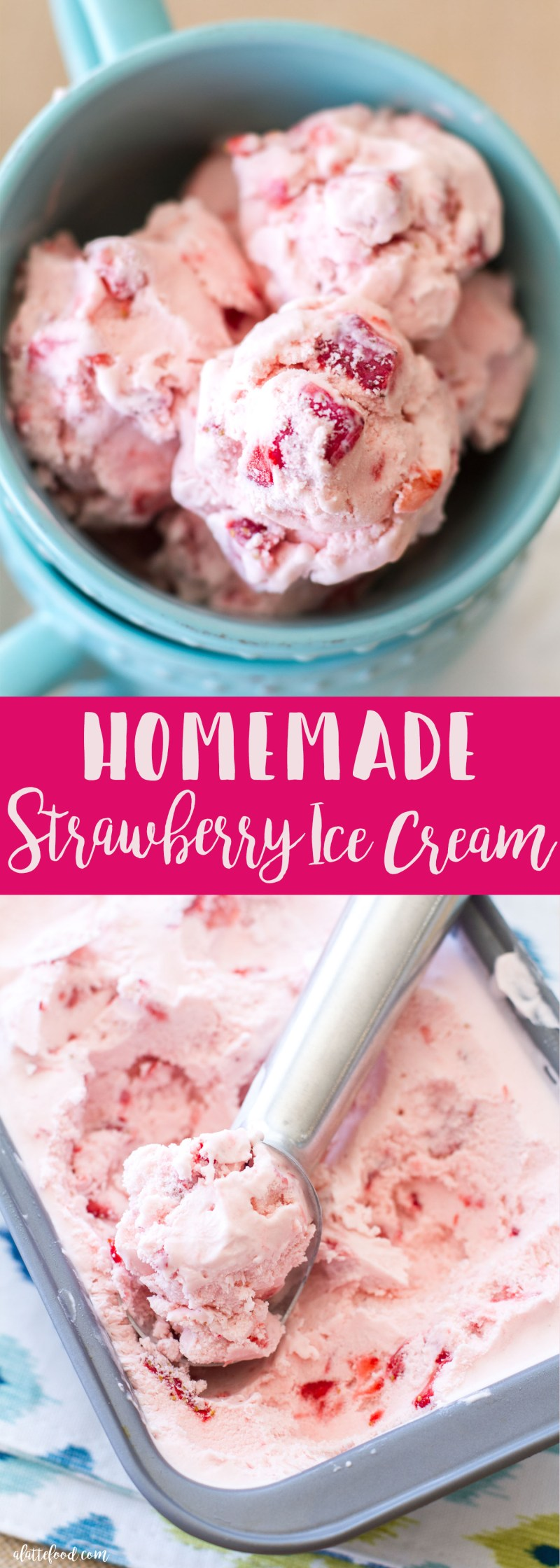 This Homemade Strawberry Ice Cream is creamy, dreamy, and made with fresh strawberries. It is so delicious and is the perfect summer ice cream! strawberry, ice cream, strawberry ice cream