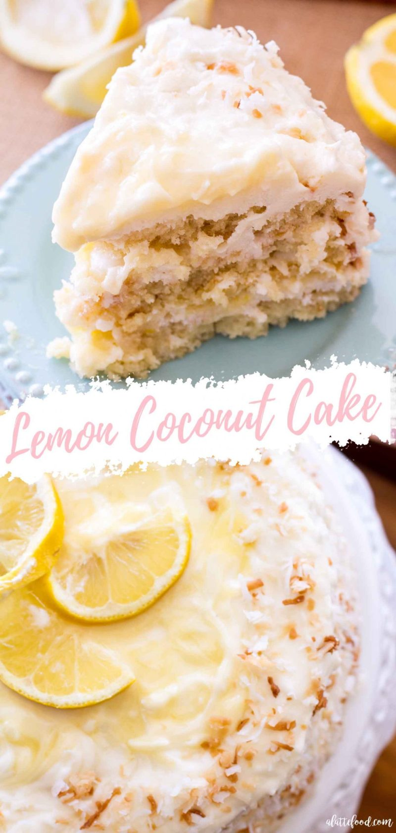 lemon coconut cake collage with cream cheese frosting