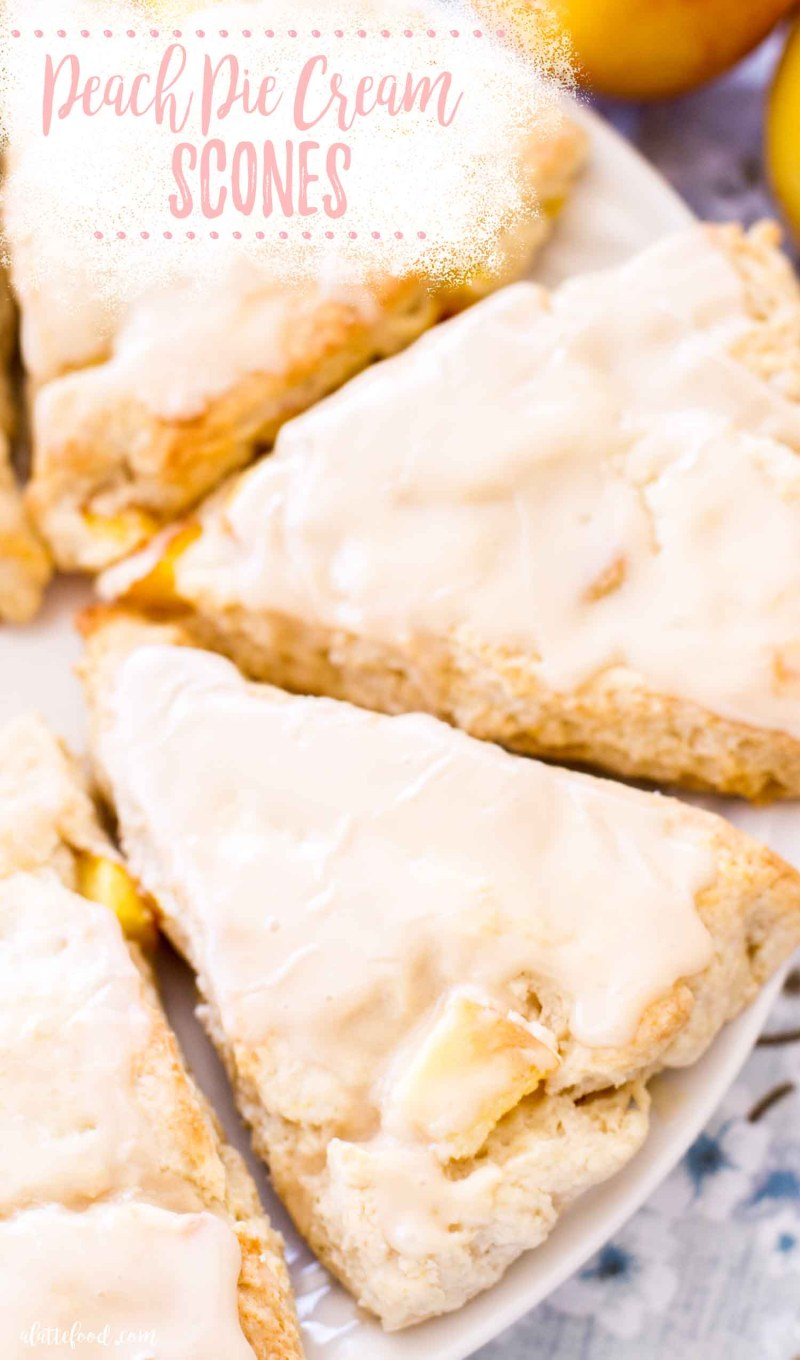 peach pie scones with vanilla glaze on plate (photo with text)