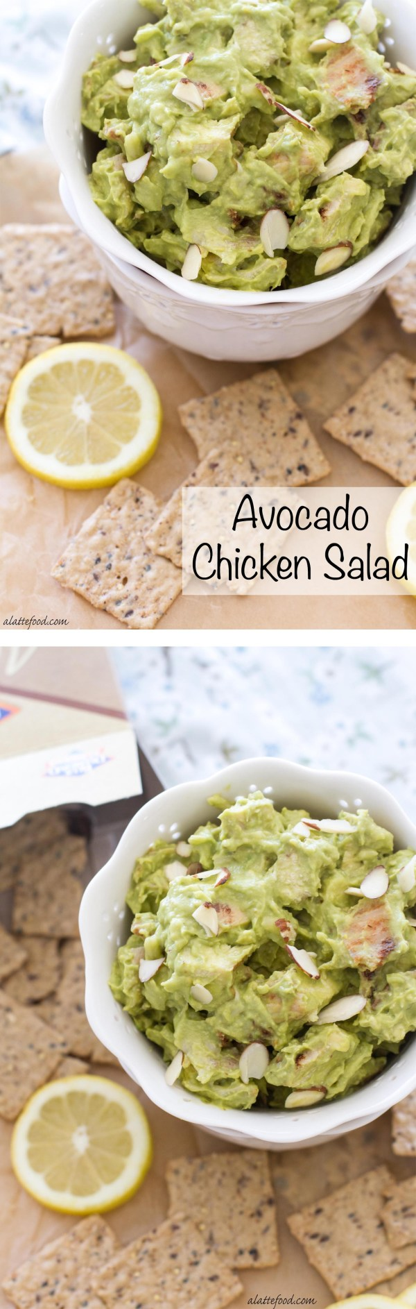 This simple chicken salad is made with avocado, sour cream, lemon juice, almonds, and pepper jack cheese.   www.alattefood.com