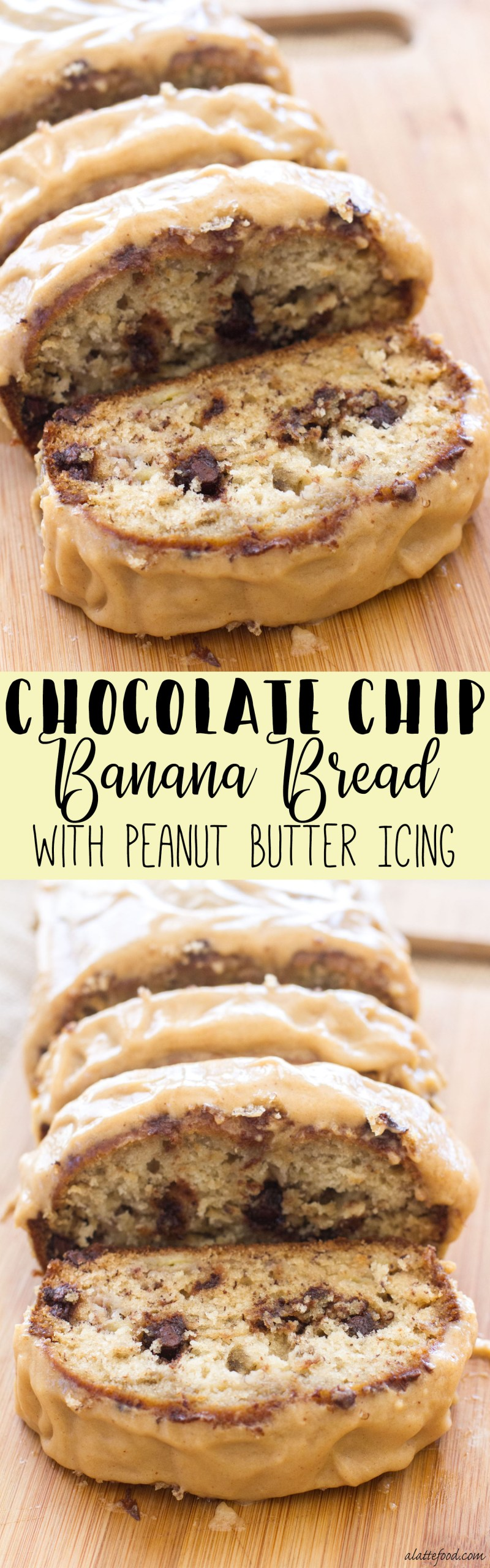 This classic banana bread is filled with sweet chocolate chips and topped with the best peanut butter icing! The peanut butter glaze and the melty chocolate chips make this Chocolate Chip Banana Bread recipe absolutely to die for! You're sure to love this quick and easy snack or dessert! homemade banana bread, best banana bread recipe
