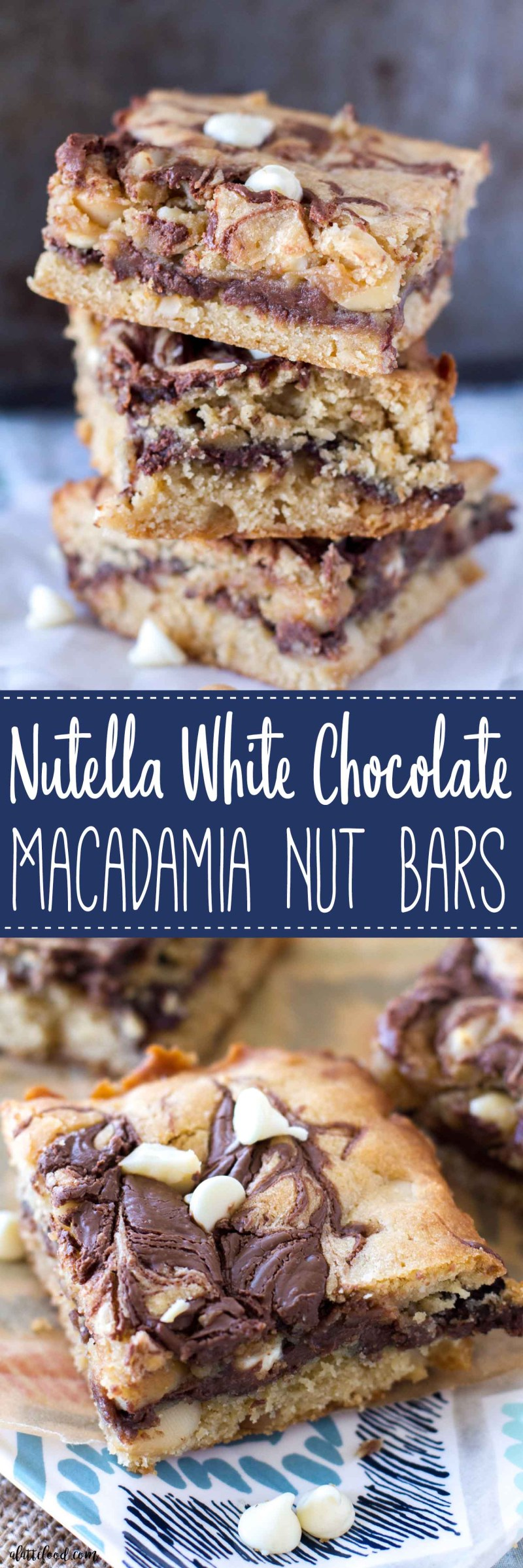 These indulgently rich Nutella White Chocolate Macadamia Nut Bars have a gooey Nutella center!  These Nutella gooey bars are like a White Chocolate Macadamia Nut Cookie met a Nutella Cookie Bar to create anirresistible dessert bar!These gooey Nutella bars are the life of the party. With all of the white chocolate chips, macadamia nuts, and swirls of Nutella, how could they not be?