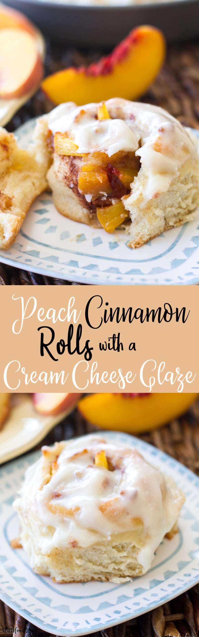 These fluffy, gooey cinnamon rolls are filled with fresh peaches, peach jam, and topped with a rich cream cheese glaze. These peaches and cream cinnamon rolls are love at first bite. Homemade peach cinnamon rolls are the perfect summer breakfast or make ahead breakfast! how to make cinnamon rolls, peach pie, easy cinnamon roll recipe