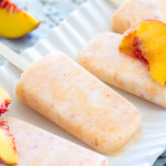 These easy peach popsicles are made with Greek yogurt and honey, making them a healthy way to stay cool in the heat! | www.alattefood.com