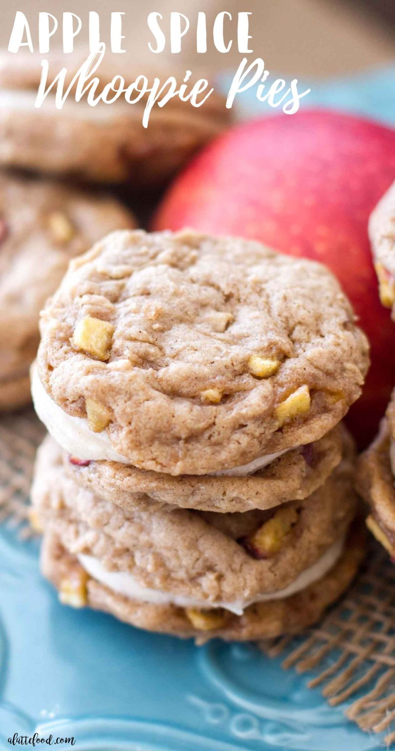 These homemade apple spice whoopie pies are filled with cinnamon spice and baked apples. These sweet apple cookies are filled with a rich, cinnamon cream cheese filling. These apple whoopie pies soft, sweet, and taste like fall! They're my currentobsession. One of the best fall desserts, my friends. how to make whoopie pies, apple cookies, thanksgiving recipes