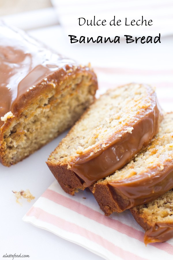 This decadent banana bread is the dessert bread of dreams. It's sweet, full of banana flavor, and topped with dulce de leche. It doesn't get much better.