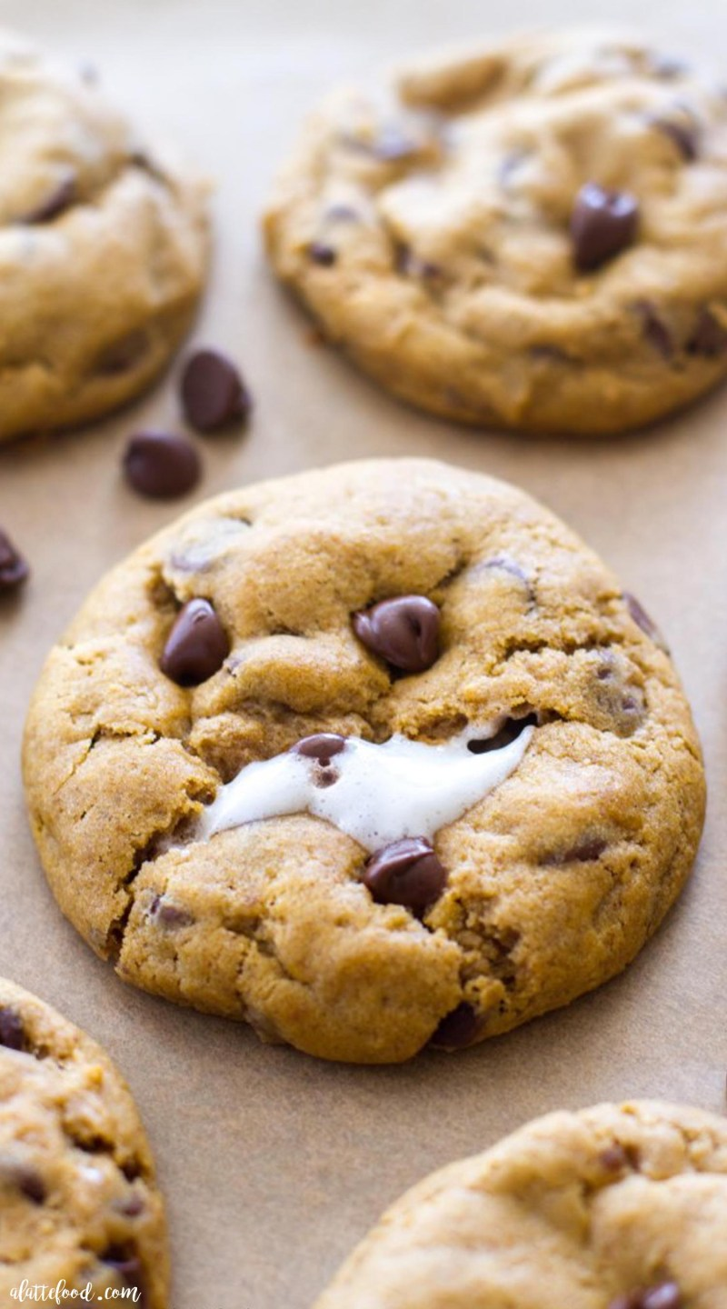 These thick andchewy Pumpkin Chocolate Chip Cookies are baked with a gooey marshmallow inside, making these rich, chocolatey pumpkin cookies theperfect fall dessert! Plus, a step-by-step video below! how to make pumpkin cookies, easy fall desserts