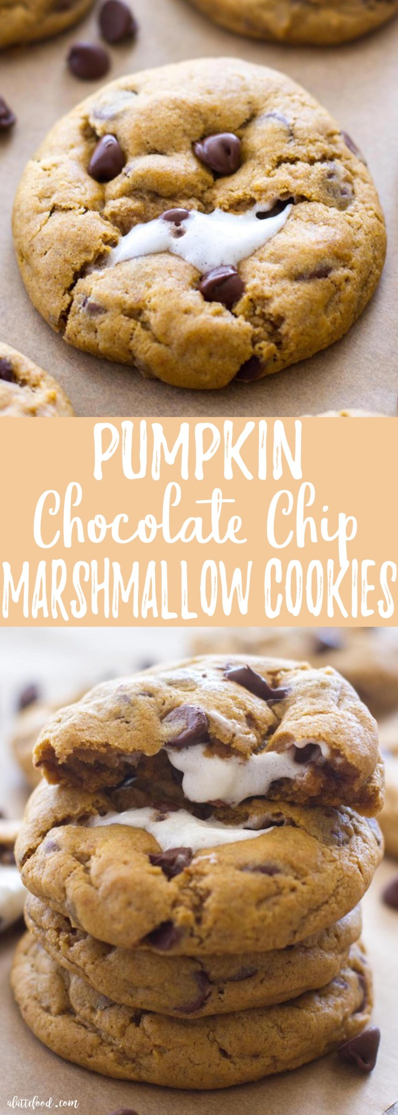 These thick andchewy Pumpkin Chocolate Chip Cookies are baked with a gooey marshmallow inside, making these rich, chocolatey pumpkin cookies theperfect fall dessert! Plus, a step-by-step video below!