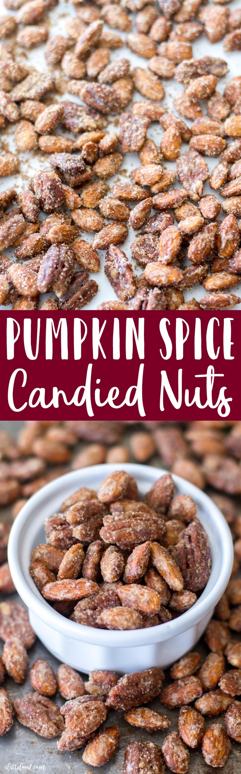 These sugared almonds and pecans are candied with a blend of pumpkin pie spice, white sugar, and brown sugar to make the most irresistible snack! Candied nuts are the ultimate fall snack, and this Pumpkin Spice Candied Nuts recipe is SO simple! how to make candied nuts, pumpkin candied pecans