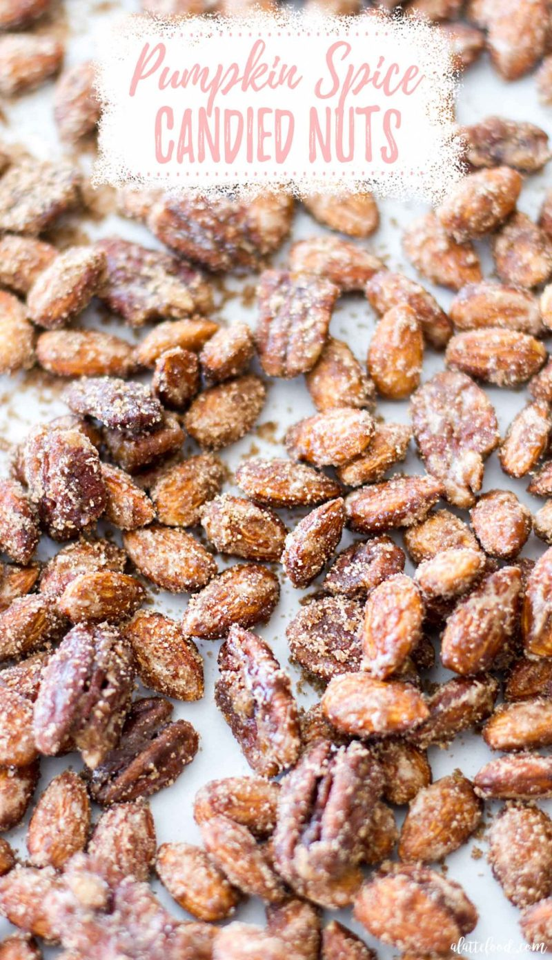 candied pumpkin spice nuts on baking tray with text