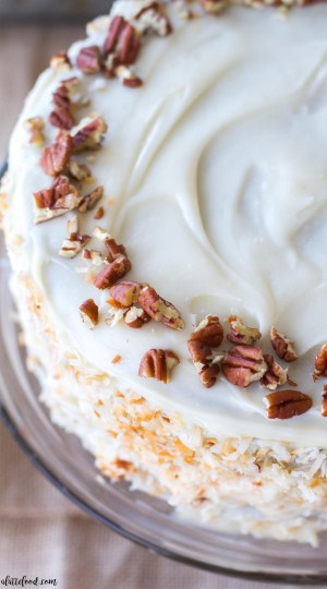 This incredibly moist homemade carrot cake is full of sweet spices, coconut, and carrots (both shredded carrots and carrot puree!). This carrot spice cake is completed with a homemade cream cheese frosting that is topped with toasted coconut and chopped pecans. This carrot cake is the best Thanksgiving dessert or Christmas dessert!