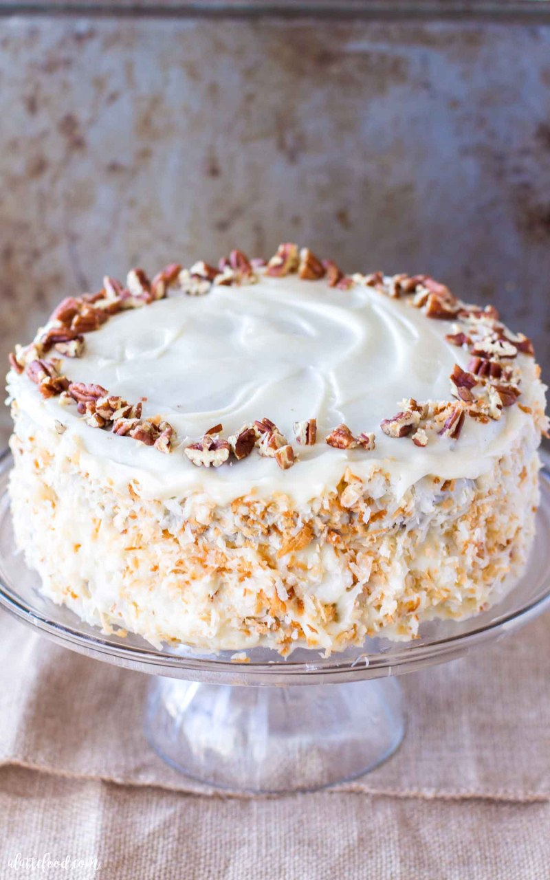 cream cheese frosted carrot spice cake with pecans