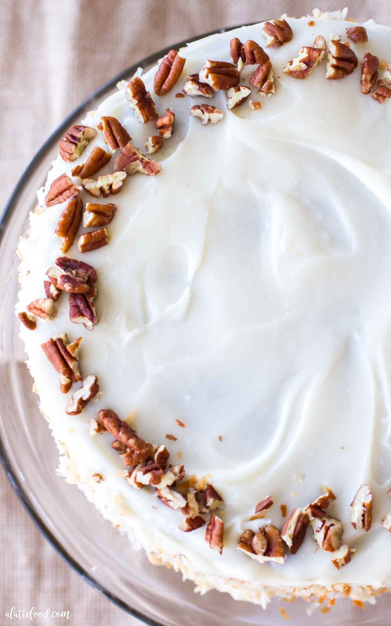 carrot spice cake on cake stand