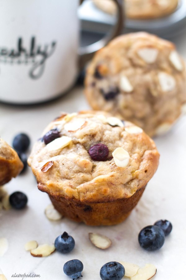 {Skinny} Blueberry Almond Banana Muffins