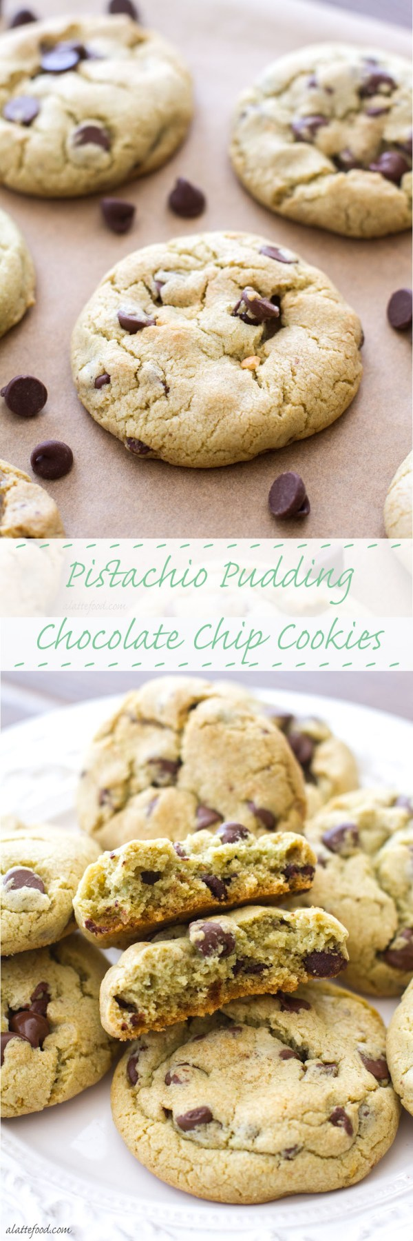 These soft and chewy pistachio pudding chocolate chip cookies are a fun twist on the classic chocolate chip cookie recipe! A perfect St. Patrick's Day dessert! | www.alattefood.com