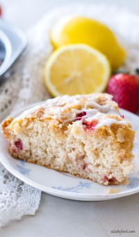 This strawberry lemon coffee cake recipe is light, fluffy, and packed with sweet strawberry and tangy lemon flavor! It's the picture of spring.