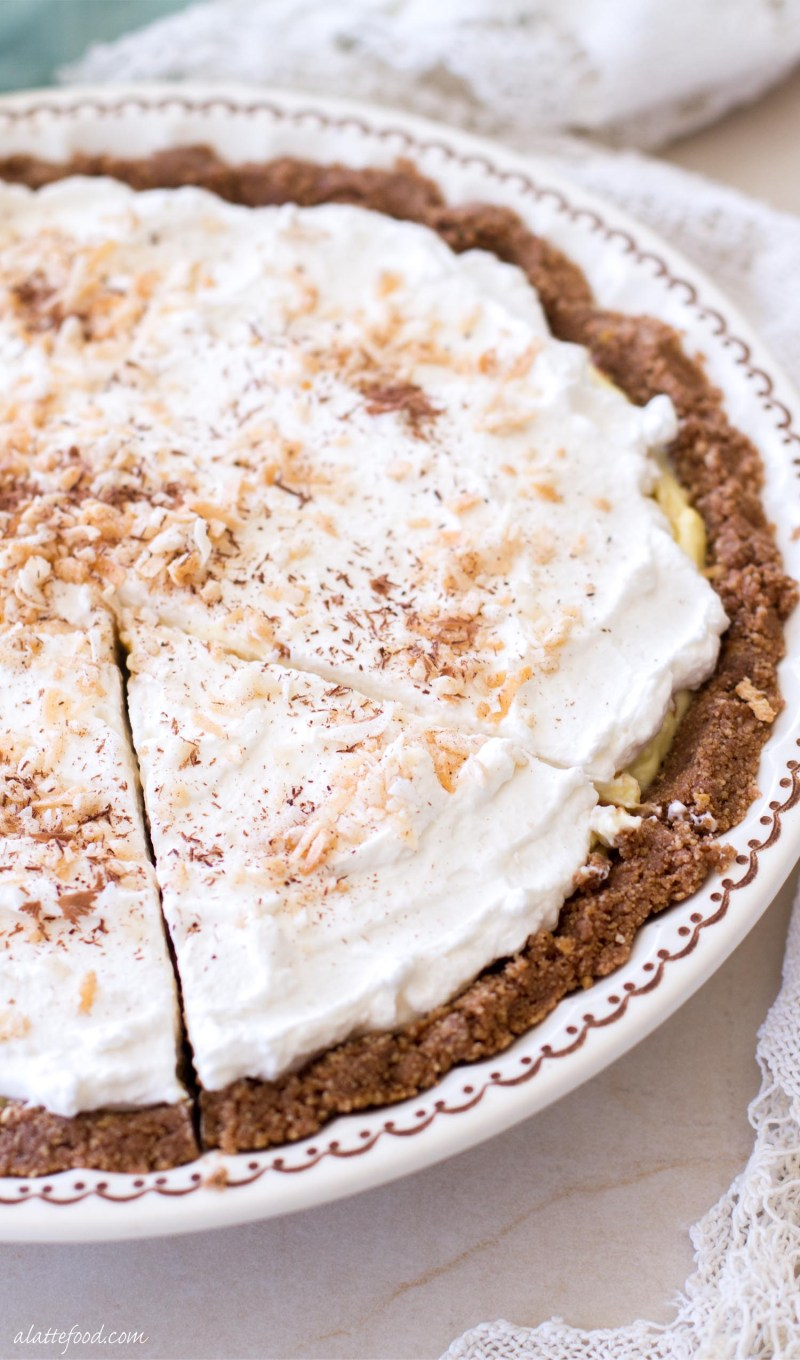 Coconut Cream Pie This easy, no-bake chocolate coconut cream pie recipe is the perfect summer dessert! Whipped cream, chocolate cream, and coconut cream are layered on top of a chocolate cookie crust! It's glorious.