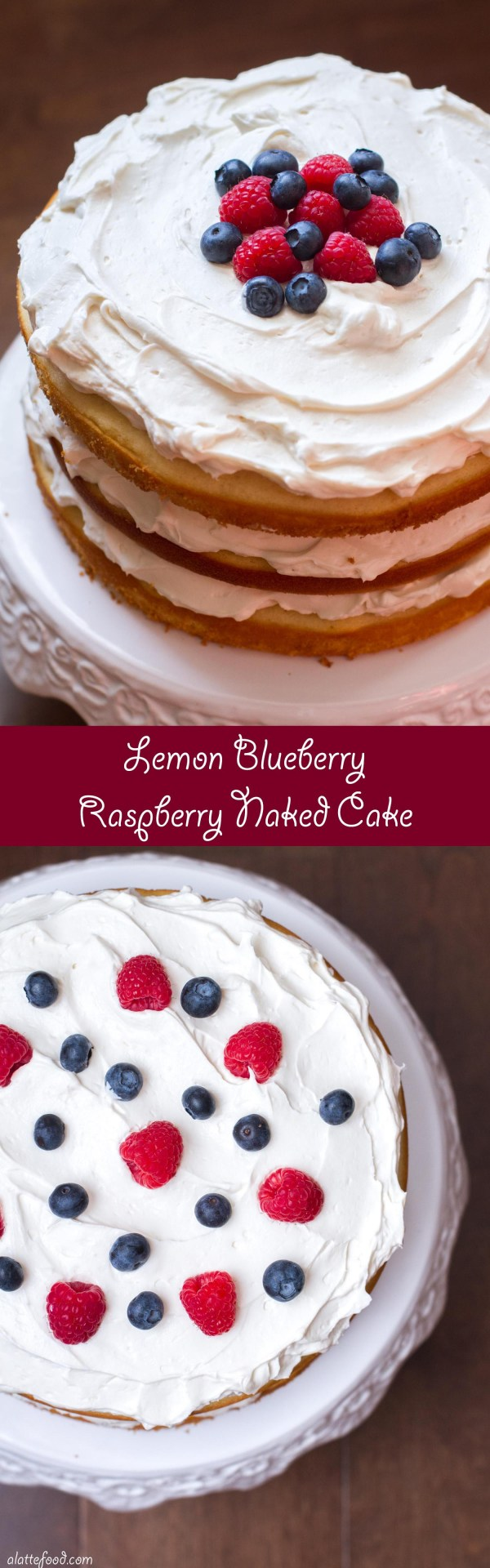 This lemon naked cake is layered with a whipped cream cheese frosting and sweet raspberries and blueberries. It's a light and fluffy cake that tastes like summer and looks perfect for the 4th!