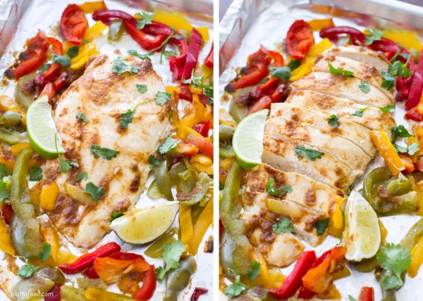 This easy chicken fajita recipe is made in the oven to make a simple, one-pan meal! Made with simple, wholesome ingredients, these fajitas are an easy weeknight dinner staple!