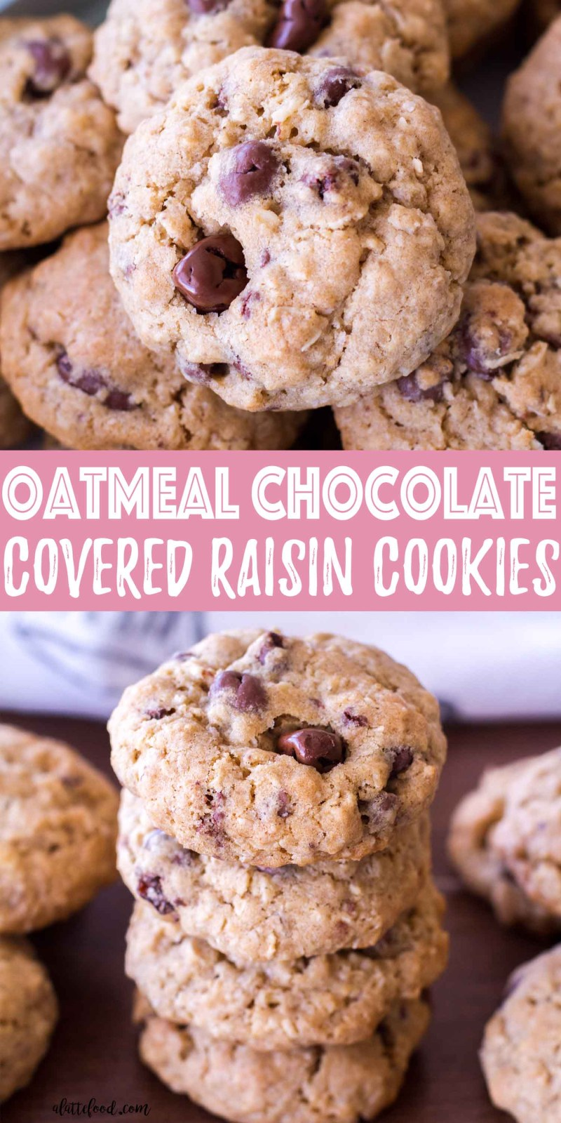 These oatmeal chocolate covered raisin cookies are a cross between the best oatmeal chocolate chip cookies and homemade oatmeal raisin cookies! If you are a fan of both oatmeal cookie recipes, you are sure to love this spin on a classic cookie recipe!