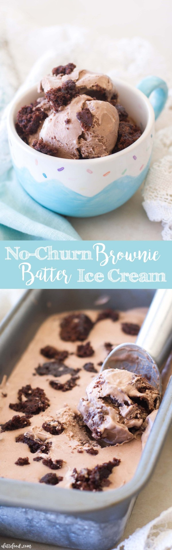 This easy no-churn brownie batter ice cream is made with only 4 ingredients (5 ingredients if you want to add in brownie bites!) and tastes like chocolate covered brownie dreams.