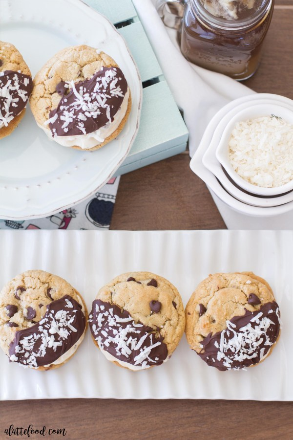 Mocha Coconut Chocolate Chip Cookies are dipped in chocolate, sprinkled with coconut, and perfect when sandwiched around rich caramel ice cream! It's the dream team.