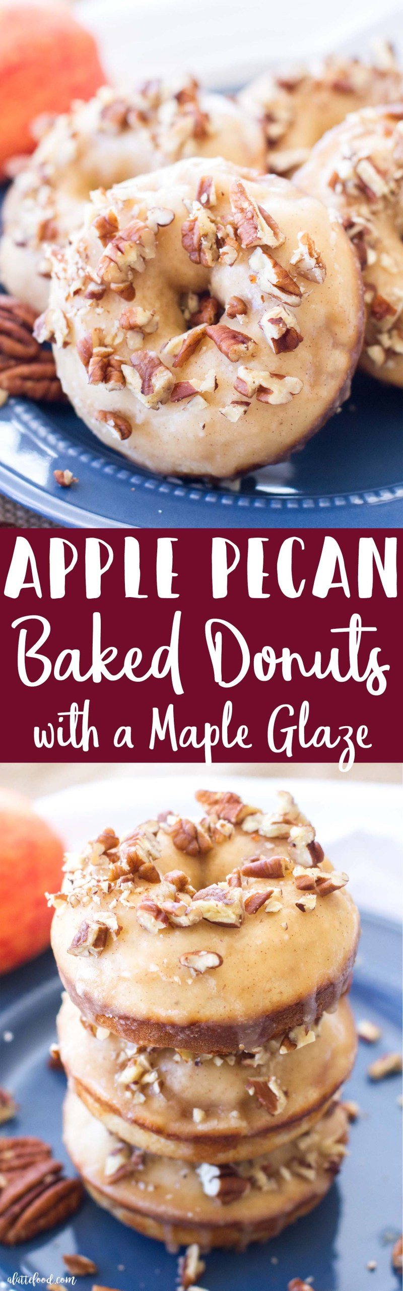 These simple baked apple donuts are filled with sweet apples and cinnamon, and topped with a maple glaze and chopped pecans! These homemade donuts taste like warm apple pie with a sweet maple glaze!