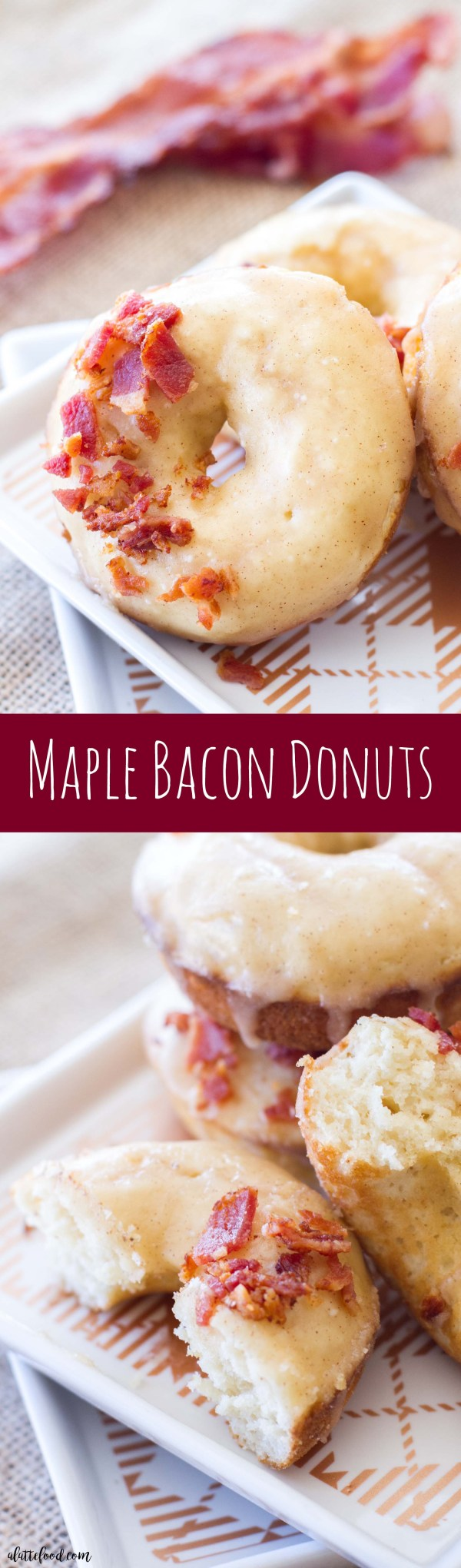 These baked maple donuts are topped with smoky bacon to make the best breakfast or brunch recipe!