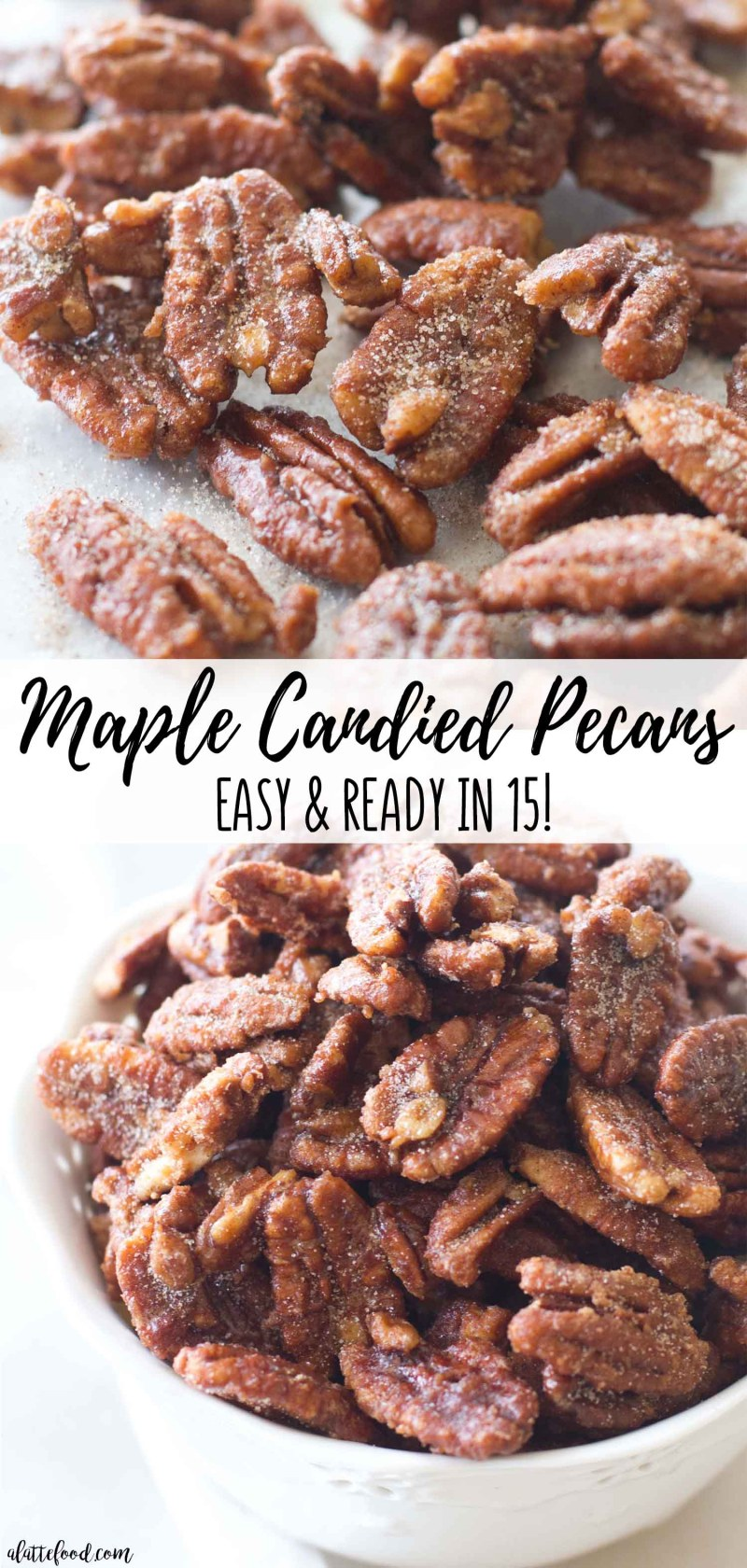 Easy Candied Pecans get kicked up a notch with fall flavors! Maple Candied Pecans are an easy fall dessert.