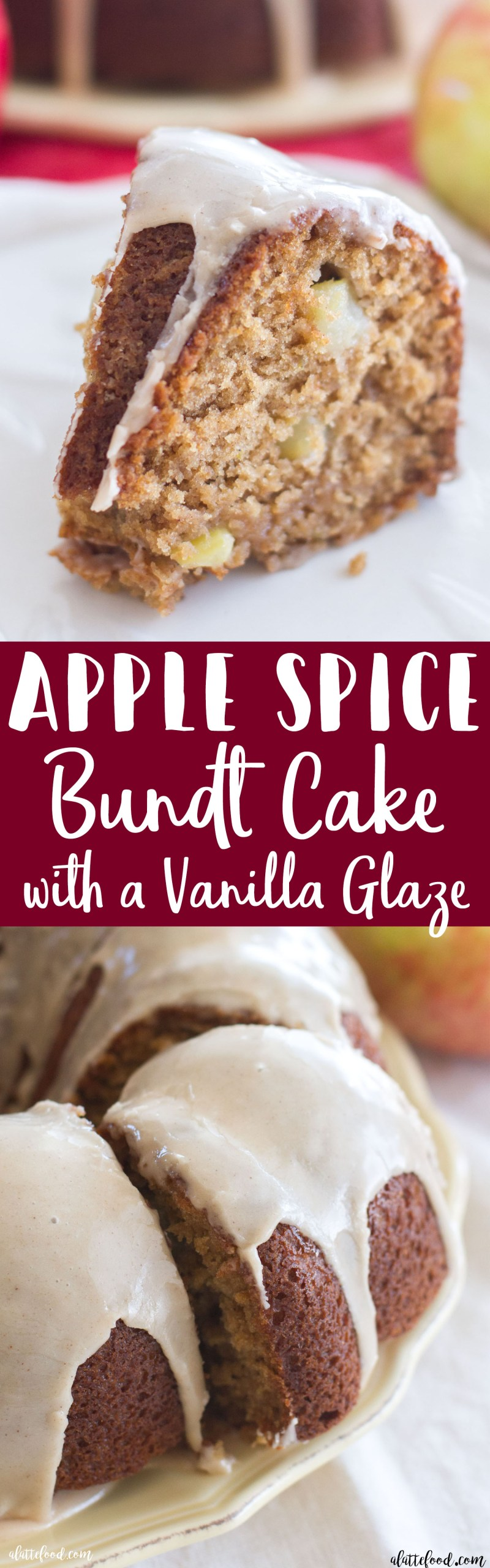 This easy apple spice bundt cake recipe is the perfect dessert! Filled with both shredded and chopped apples, this cake is full of sweet apple flavor! The vanilla glaze is the cherry-on-top, making this easy apple cake a family favorite! apple spice cake, apple bundt cake, fall dessert